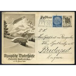 GERMANY 1936. Olympiad , uprated stationery card to Hungary