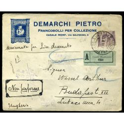 ITALY 1924. Nice registered cover to Hungary