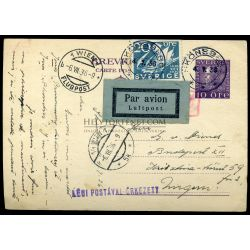 SWEDEN 1936. Uprated airmail stationery airmail card to Hungary