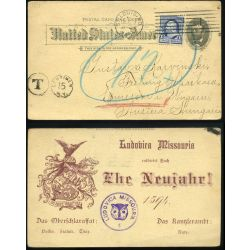 UNITED STATES 1893. Interesting private stationery card to Hungary