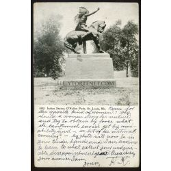 UNITED STATES 1908.  St Louis Indian statue vintage postcard to Hungary