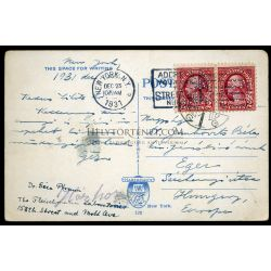 UNITED STATES 1931. NY Vintage postcard with perfin stamps to Eger, Hungary